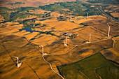 Wind turbines, Spain, aerial photograph