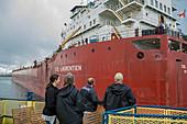 Cargo ship, Soo Locks, Michigan, USA
