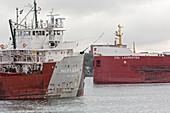 Cargo ships, Soo Locks, Michigan, USA