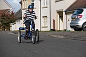 Boy with cerebral palsy