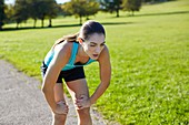 Woman recovering after exercise