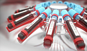 Blood samples in centrifuge, illustration