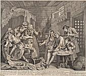 Debtor's prison by Hogarth, 18th century