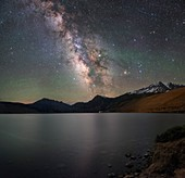 Milky Way over lake, California, USA