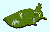 US wind turbines, illustration