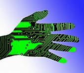 Cybernetics and robotics, conceptual illustration