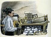Howard Carter in Tutankhamun's tomb, illustration