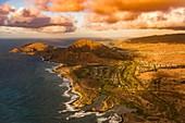 Koko Crater on Oahu, Hawaii, USA, aerial photograph