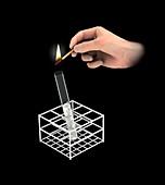 Burning splint test, illustration