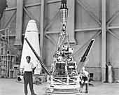 Ranger 1 spacecraft model display preparations, 1964