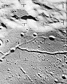 Alphonsus Crater on the Moon, Ranger 9 image, 1965