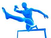 Person hurdling, illustration