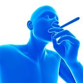 Person smoking, illustration