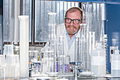 Chemist in water treatment lab