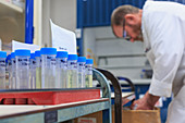 Chemist preparing samples