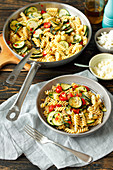 Pasta with courgette, cherry tomatoes and chili