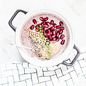 Buckwheat porridge with acai berries, pomegranate, matcha, lavender and almond mousse