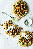 Vegan roast chickpeas on unleavened bread
