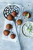 Fried pea and mint falafel (Middle East)
