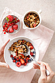 Low-carb nut granola muesli with berries
