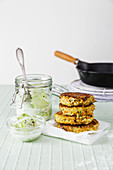 Low-carb quinoa and halloumi fritters with cucumber salad