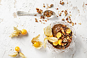 Low-carb avocado and chocolate mousse with physalis