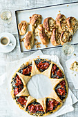 A manchego and chorizo wreath, and cinnamon and apple bread