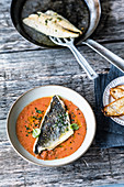 Gazpacho with stuffed seabream fillet