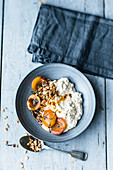 Cottage cheese with thyme apricots and oat crunch