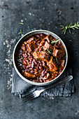 Spicy beef stew with chilli beans