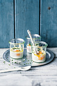 Eggs in jars with chives and Parmesan