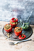 Peppers with feta cheese couscous and cucumber salsa