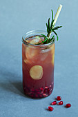 Pomegranate and lemon switchel with ginger and rosemary