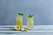 Lemon and lime switchel with ginger and mint