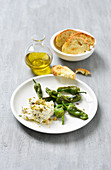Ricotta with fried padron peppers