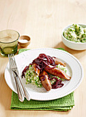Bangers and Pea mash with red wine gravy