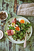 Lamb's lettuce with ham, avocado and hard-boiled eggs