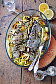 Oven-baked trout with vegetables