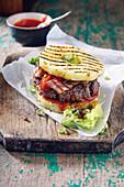 Aloha burger with pineapple and bacon