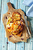 Quark fritters with apple and carrot salad