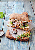 Tuna, kidney bean and apple sandwich