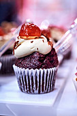 A black forest and cherry cupcake