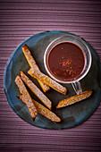 Fried polenta sticks with spiced hot chocolate