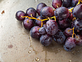 Wet dark grapes on rusty metal background