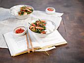 Chili-Garnelen mit Reis (Asien)