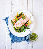 Poached salmon with spring vegetables and a herb dip (low carb)