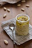 A jar of Italian almond pesto