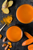 Carrot and turmeric juice with ginger