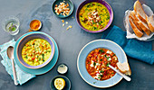 Yellow lentil soup and two varieties of chickpea soup