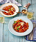 Fusilli with tomato and mushroom sauce
